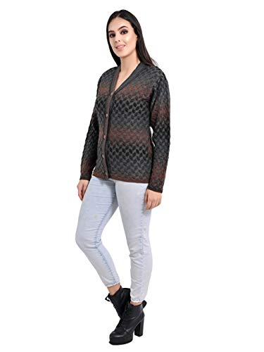 aarbee Women's Blended V-Neck Cardigan (aarbee cardigan for women_fawn_Grey_Medium)