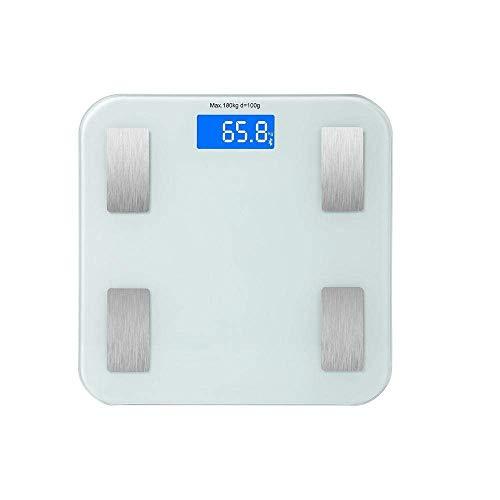 BINGFANG-W Escala de Peso Corporal Escala de Grasa, Suelo Científico Inteligente Peso LED Digital Electronic Báscula de baño, Equilibrio 180kg MAX, Blanca Cocina
