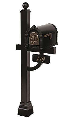 Gaines - Fleur De Lis Keystone Series Custom Mailbox Set (Black/Antique...