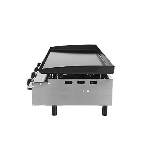TRUSTME Gas BBQ Griddle Plancha Grill 4 Burners LPG Steak Machine CE 84x34cm Cast Iron Cooking Plate Outdoor Grill…