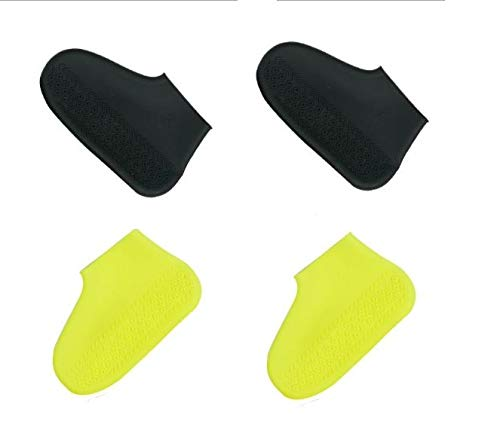 king's deal 2 pairs Shoe Covers Silicone Waterproof - Men/Women Covers for Shoes - Shoe Covers Outdoor Walking/Boot -Reusable Non Slip Grip -Durable (Medium, black+yellow)