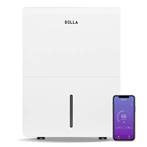 DELLA 3000 Sq. Ft Dehumidifier Wifi Energy Star For Home And Basement With Auto or Manual Drainage, 0.9 Gallon Water Tank Capacity
