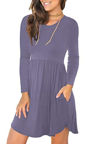 Unbranded Women's Long Sleeve Loose Plain Dresses Casual Short Dress with Pockets Purple Gray Medium
