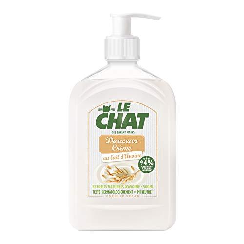 Le Chat - Savon Mains - Gel Lavant - Douceur Crème - Au lait d'Avoine - Testé dermatologiquement - Formule Vegan - PH Neutre - 94% d'ingrédients d'origine naturelle - Flacon 500ml