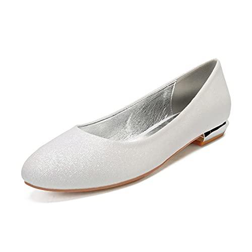 NYPB Nupcial Sandalias de Boda para Mujer Planos Slip-on Bailarinas Zapatos Vestir Zapatos de Punta Puntiaguda con Purpurina,Ivory White,43 EU