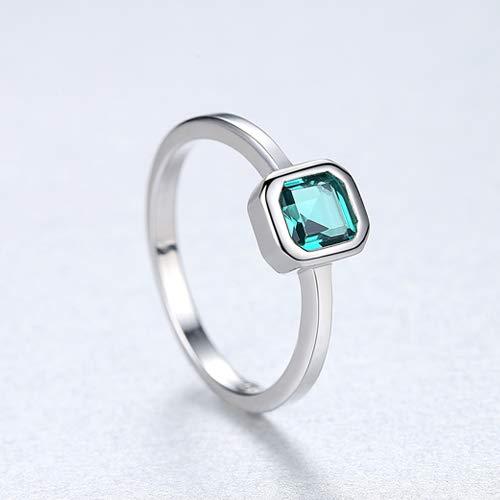 JZHHXXA Sterling zilveren verlovingsringen voor vrouwen Square Emerald Edelsteen Belofte Bruiloft Ring