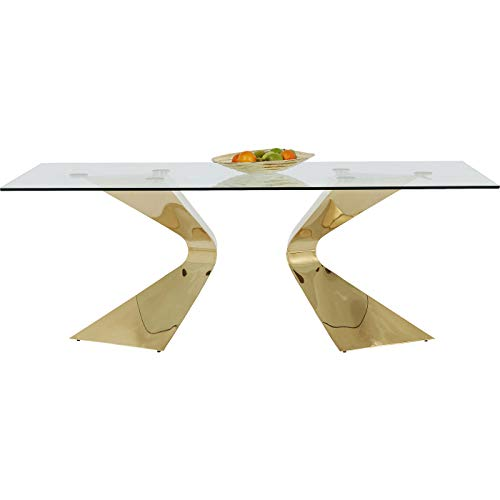 Kare Design Tisch Gloria gold, Glastisch gold, Luxus Glastisch, extravaganter Esstisch, glamouröser Schreibtisch, (H/B/T) 75x200x100cm