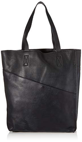 PIECES Damen Pchyena Leather Shopper Schultertasche, Schwarz (Black), 16x42x34 cm