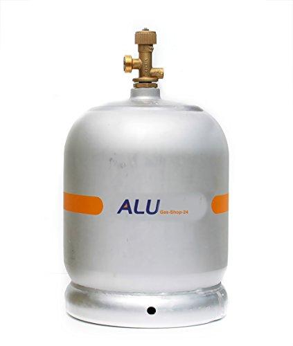 Alu Propangasflasche / Gasflasche 2 kg mit abnehmbaren Gasventil (Propan-Gasflasche Aluminium f. Marine, Caravan, Camping-Kocher Alu-mini Gas-Flasche Camping-gaz-grill, kleiner als 3 kg/ 5 kg / 11 kg)