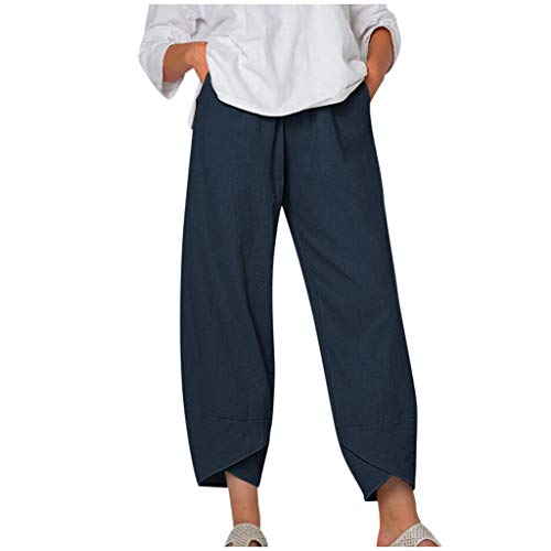 aihihe Womens Cotton Linen Pants Comfy Soft Drawstring Waist Wide Leg Capris Crop Pant Ankle Length Pants Trousers Navy