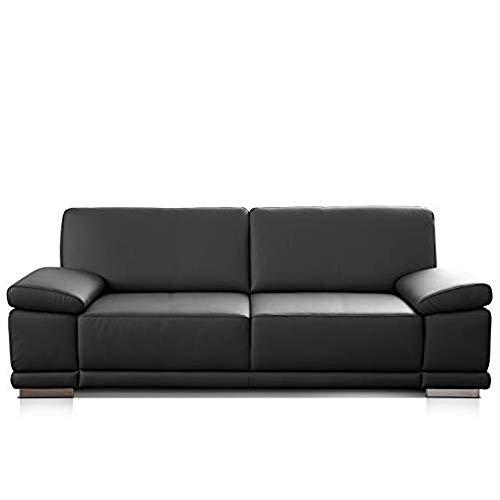 CAVADORE 3-Sitzer Sofa Corianne in Kunstleder / Ledercouch in hochwertigem Kunstleder und modernem Design / Mit verstellbaren Armlehnen / 217 x 80 x 99 / Kunstleder schwarz