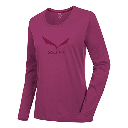 Salewa Solidlogo 2 Co W L/S Tee - T-Shirt à Manches Longues pour Femme, Couleur Rouge, Taille 46/40