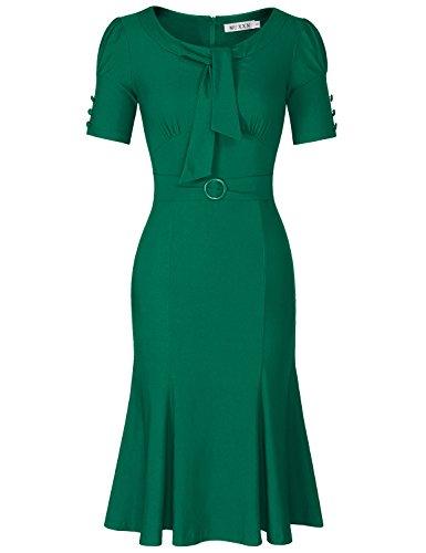 MUXXN Ladies 50s Fashion Sweetheart Neckline High Stretch Work Dress (Green XXL)