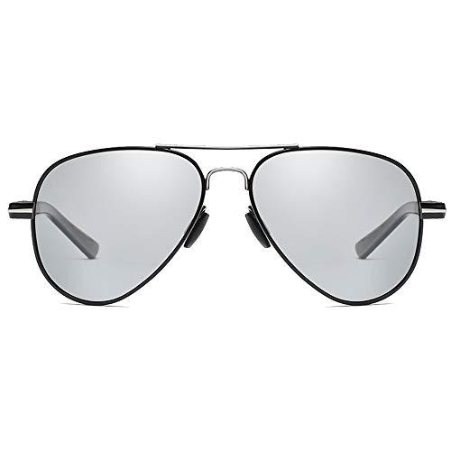FAGavin Gafas de sol polarizadas de moda Wild New PC Material de película de color negro/negro/plateado marco de lente decolorada para hombre (color de plata negra)