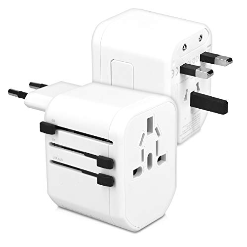 kwmobile Universal Reiseadapter mit 2 USB Ports - 150 Länder Reisestecker Adapter EU US AUS UK - Urlaub Reise Steckdosenadapter in Schwarz