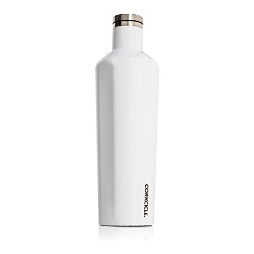 Corkcicle Canteen- Water Bottle & Thermos- Triple Insulated Shatterproof Stainless Steel (25 oz, Gloss White)