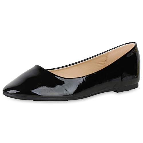 SCARPE VITA Damen Klassische Ballerinas Elegante Slip On Schuhe Lack Slipper Flache Abendschuhe Flats Glitzer 181580 Schwarz Lack 37