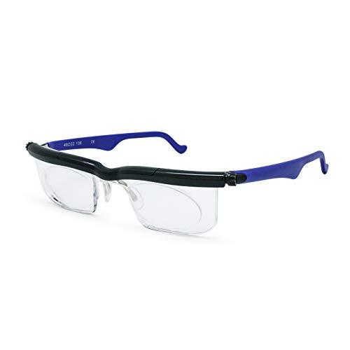 Adlens Schwerpunkt einstellbare Brille -4 bis +5 Dioptrien Kurzsichtigkeit Lupe lesen Gläser variabler Stärke (Blau)