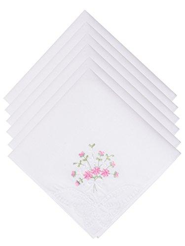 SelectedHanky Damen-Taschentücher aus Baumwolle mit Blumen bestickt mit Spitze, 6 Stück – Rosa Blumenmuster