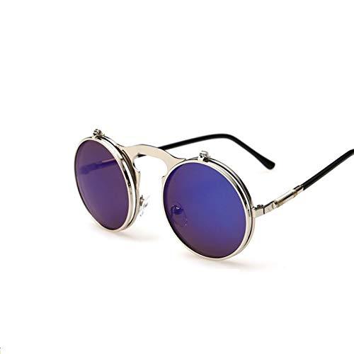ShSnnwrl Único Gafas de Sol Sunglasses Gafas De Sol Redondas Vintage Hombres Mujeres Diseñador De La Marca Steam Punk Coating Cir