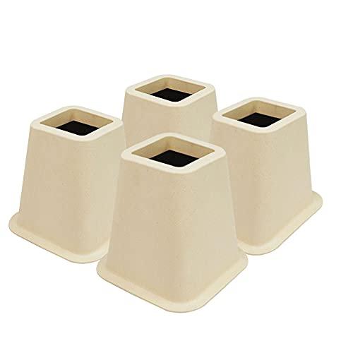 Miix Home - Elevadores de cama de fibra de bambú, 12 cm, para cama de matrimonio, muebles y sillas elevadoras, juego de 4 piezas
