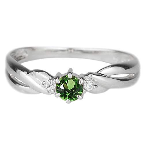 (リュイール)Luire 指輪 レディース エメラルド リング 人気 スリーストーン トリロジー カラーストーン 指輪 誕生石シンプル 18金 k18ホワイトゴールド サイズ 7号