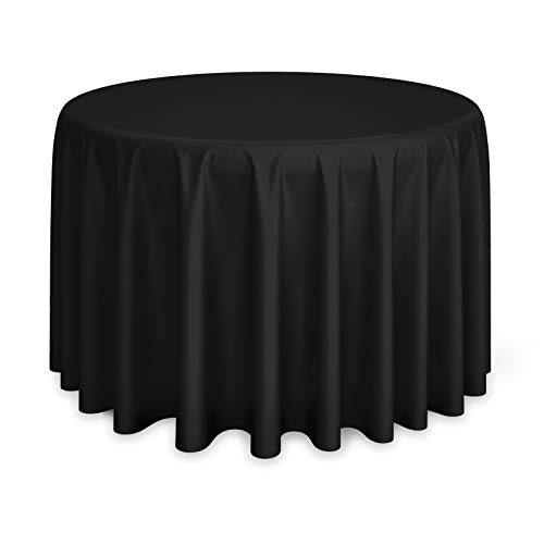 Lann's Linens - 10 Premium 120' Round Tablecloths for Wedding/Banquet/Restaurant - Polyester Fabric Table Cloths - Black