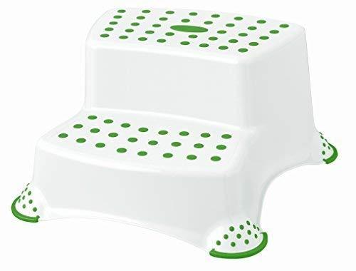 Hocker Trittschemel Tritthocker zweistufig bis 120 kg weiß/grün
