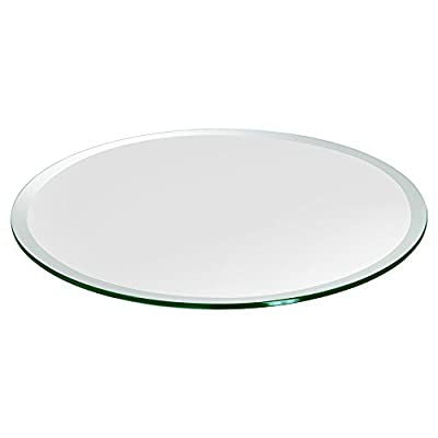 """TroySys Beveled Polished Tempered Glass Table Top, 24"""" L Round, 1/4"""" H Thick"""