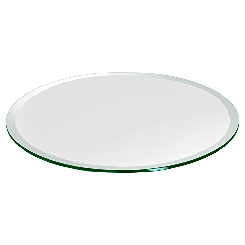TroySys - 1/2' Thick Round Circle Glass Table - USA Premier Glass Maker | High Strength Tempered Glass with Beveled Edge | Perfect Transparent Indoor or Outdoor Glass Table (12 Inch)