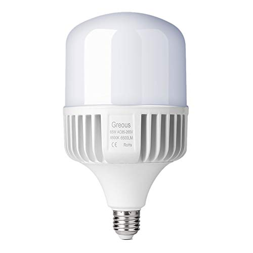 Greous Super Bright 400W-500W Light Bulb Equivalent, 65W LED Bulb 120 Volt Cool White 6500K E26, 6500 Lumens,High Watt Commercial Retrofit LED Bulbs for Yard Garage Factory Warehouse Workshop