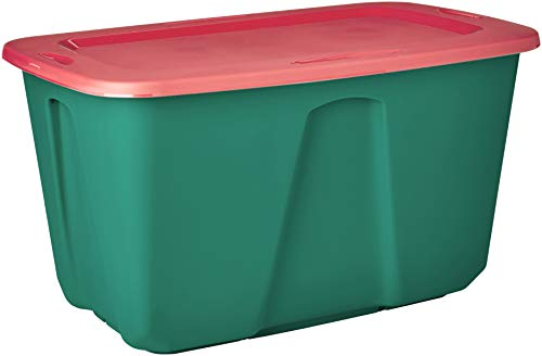 Homz Holiday Plastic Storage Tote Box, 32 Gallon, Green With Red Lid, Stackable, 6-Pack
