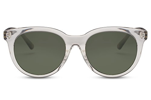 Cheapass occhiali da sole rotondi trasparenti Verdi con stampa di leopardo UV400 uomini donne