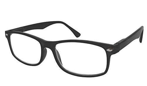 TBOC Gafas de Lectura Presbicia Vista Cansada - Graduadas +2.50 Dioptrías Montura de Pasta Negra Mate Diseño Moda Hombre Mujer Unisex Lentes de Aumento para Leer Ver de Cerca Patillas Bisagras Resorte