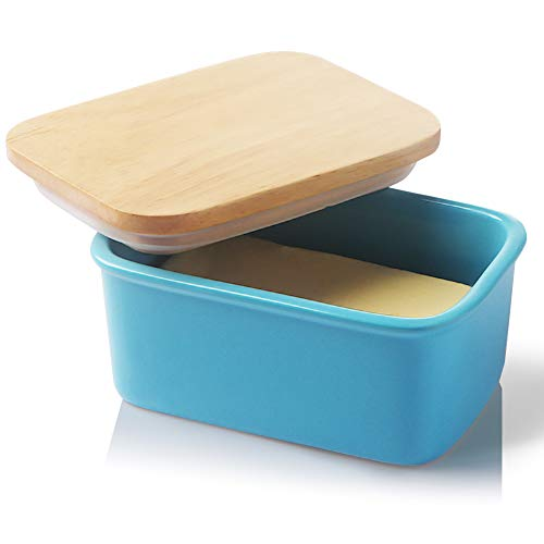 SWEEJAR Porcelain Butter Dish with Lid Airtight Large Butter Keeper with Wooden Lid Butter Container Perfect for 2 Sticks of Butter West or East Coast ButterSteel Blue