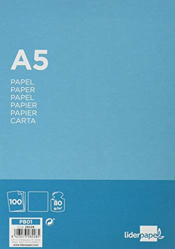 Liderpapel PB01 - Pack de 100 hojas de papel, A5, color blanco