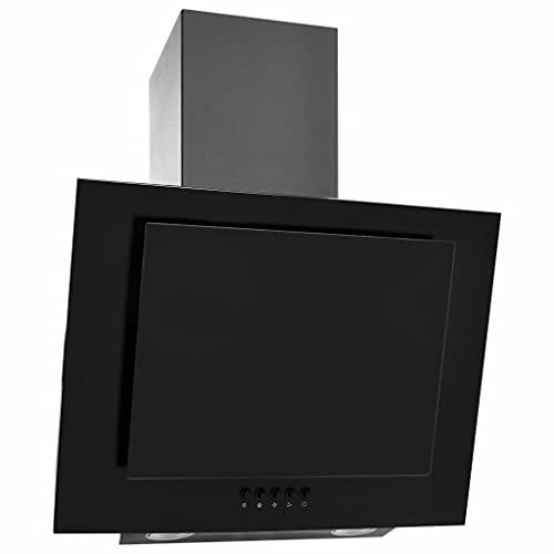 vidaXL Cappa a Muro Aspiratore a Parete da Cucina Elettrodomestici Accessori per Cucine 60 cm in Acciaio Inox e Vetro Temperato Nera
