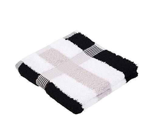 Gözze Handtuch 2er-Set, 100% Baumwolle, 50 x 100 cm, New York, Streifen, Schwarz/Weiß/Silber, 555-9100-A4