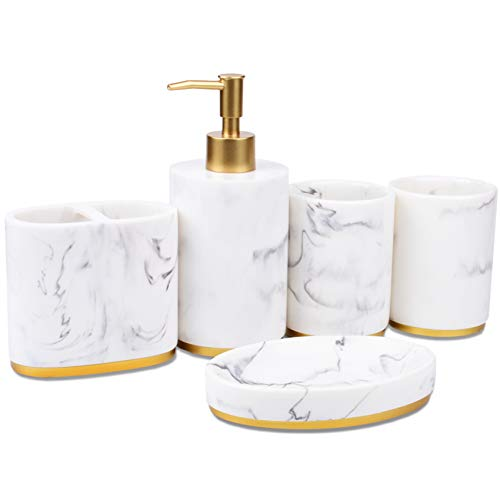 Jung Ford 5-Piece Bathroom Counter Top Accessory Set - Dispenser for Liquid Soap or Lotion, Soap Dish, Toothbrush Holder and 2 Tumblers, Marble Imitated Resin (White)