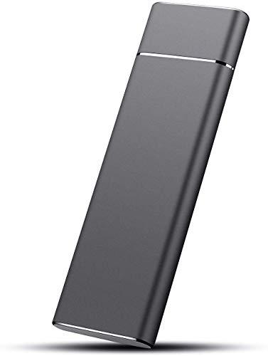 Externe Festplatte von 2 TB, tragbare Festplatte, Speicherung von Daten auf externe Festplatte, dünn, USB 3.1/Type-C, kompatibel mit PC, Laptop und Mac (2TB, Schwarz)