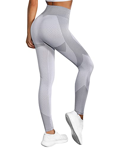 Wayleb Leggings da Donna Push up Pantaloni da Yoga Leggings Sportivi Donna Tute da Ginnastica Vita Alta Anticellulite Pantaloni Palestra per Fitness Yoga Pant, Grigio L