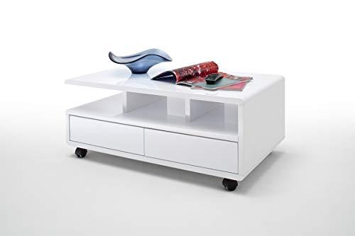 PEGANE Table Basse avec 2 tirois Coloris Blanc laqué Brillant - L100 x H41 x P60 cm