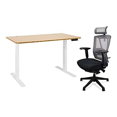 Autonomous Hybrid Dual Motor Height Adjustable Standing Desk and Ergonomic Combo, Medium, White Leg–Bamboo Top–All Black Chair