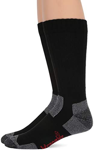 Wrangler Men's Steel Toe Boot Ultra-Dri Work Crew Socks 2 Pair Pack, black, Large