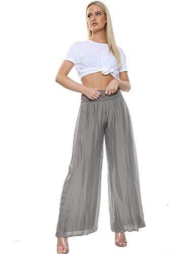 Damen Italienisch Lagenlook Quirky Layering Plain Seide Flap Taille Puffball Style Harem Hosen Leggings Jogger Hosen Loose Baggy One Size Plus (Eine Größe 36-48, Mokka)