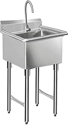 """KITMA 1 Compartment Stainless Steel NSF Commercial Sink & Utility Sink - Bowl Size 16"""" x 18"""" x 12"""""""