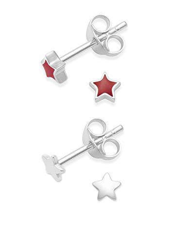2paia orecchini stella in argento Sterling smaltato rosso & Plain Silver Star borchie. Dimensioni: piccolo 3mm. Confezione regalo. 5148/5572RD