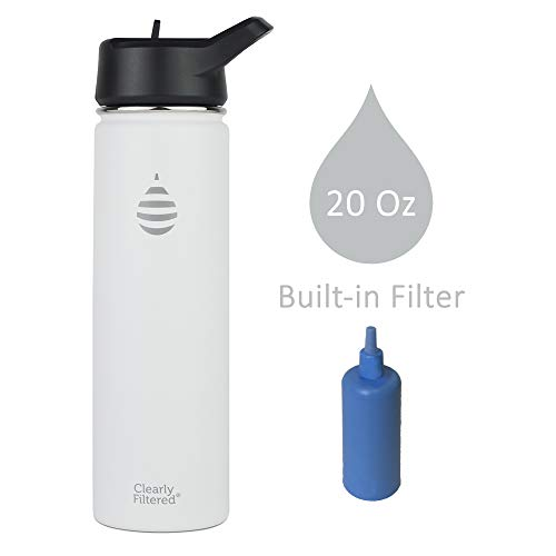 Clearly Filtered Insulated Stainless Steel Water Bottles (White)