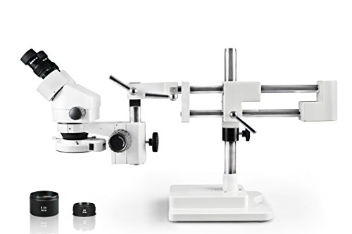Vision Scientific VS-5EZ-IFR07 Binocular Zoom Stereo Microscope,10x WF Eyepiece,0.7X—4.5X Zoom, 3.5X—90x Magnification, 0.5X & 2X Auxiliary Lens,Double Arm Boom Stand,144-LED Four-Zone Ring Light