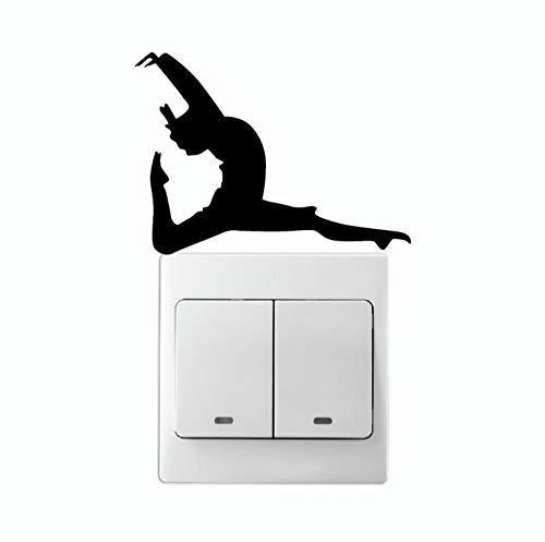 DIY Decorativas del Interruptor Stickers Fitness Girldancer con Una Pierna Señalada En El Interruptor De Luz Stikcer Silhouette Vinilo Etiqueta De La Pared Decoración para El Hogar 11.4 * 7.5Cm
